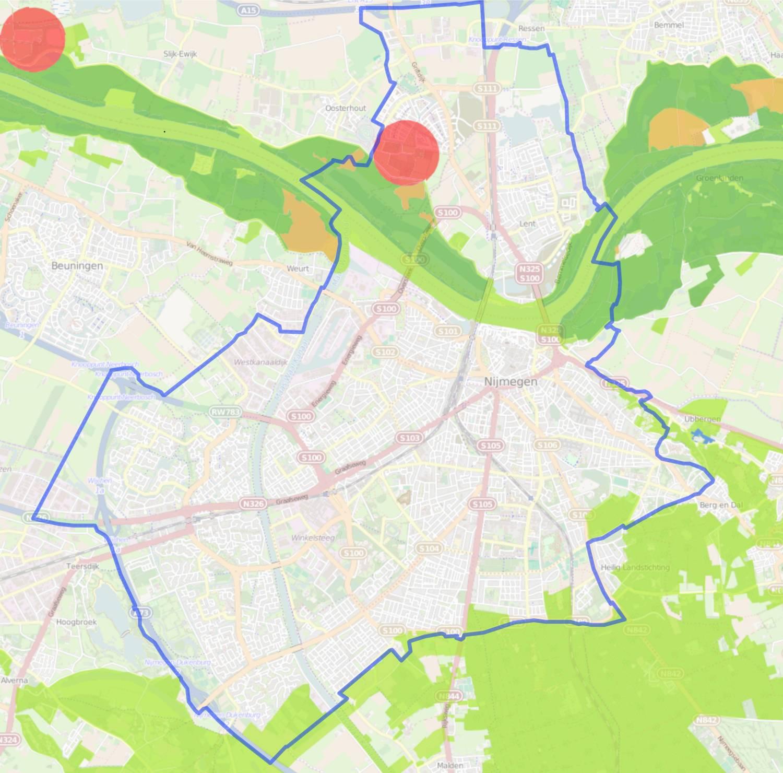 overzichtskaa rt Nijmegen met aangegeven natuurgebieden