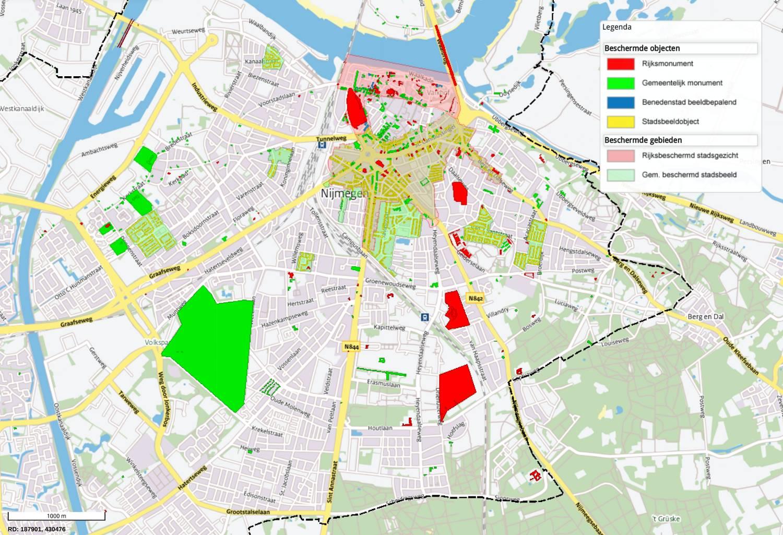 overzichtskaart Nijmegen met beschermende gebieden en objecten