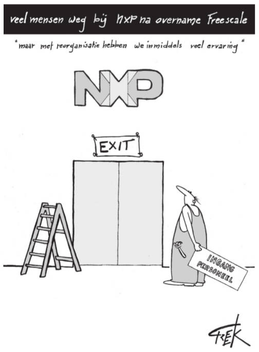 cartoon Freek Janssen over reorganisatie NXP