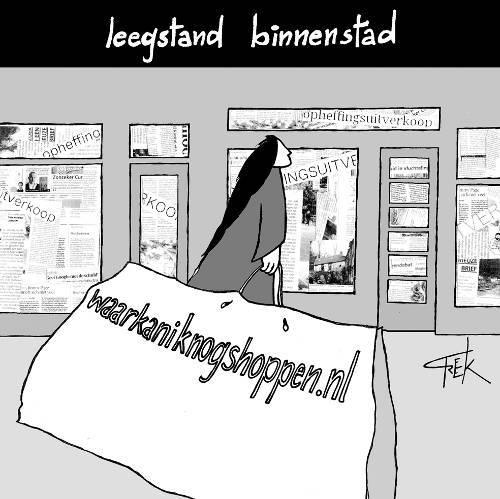 cartoon Freek Janssen over de leegstand Nijmeegse binnenstad en de consument